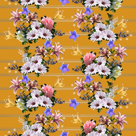 Floral seamless pattern. Beautiful summer flowers on striped background. 스톡 콘텐츠