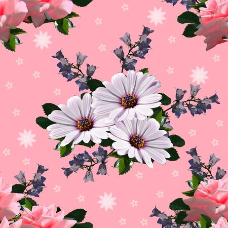 Beautiful floral seamless pattern. Osteospermum, bellflowers and roses on pink background. Summer flowers.