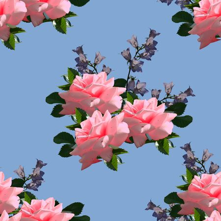 Floral seamless pattern with beautiful pink roses and violet bellflowers on blue sky background.
