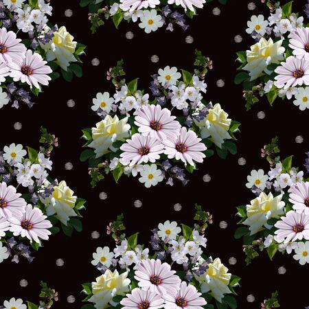 Lovely seamless pattern with bouquets of beautiful summer flowers. Print for fabric, wallpaper, wrapping paper.