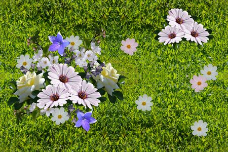 Beautiful seamless pattern with flowers on green grass background. 스톡 콘텐츠
