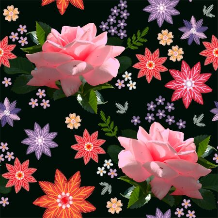 Beautiful floral seamless pattern with pink roses and abstract embroidery flowers on black background. 스톡 콘텐츠