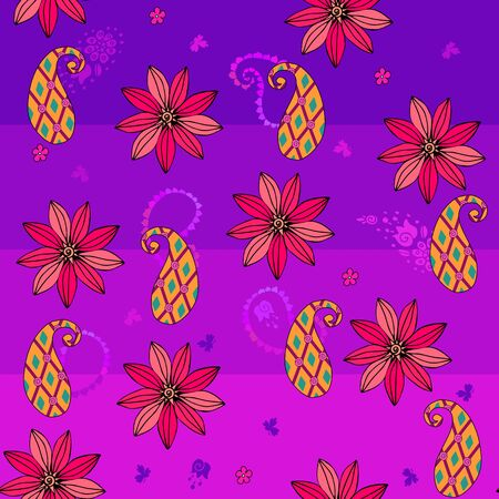 Seamless pattern with flowers and paisley. Summer background. Fashion print for fabric.