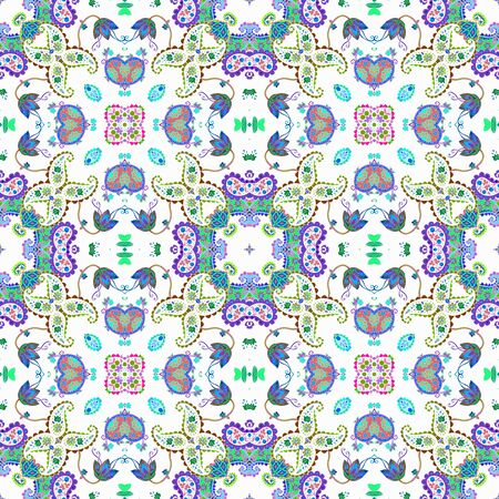 Beautiful ornamental seamless pattern with paisley and flowers  on white background. Print for fabric and textile. 스톡 콘텐츠