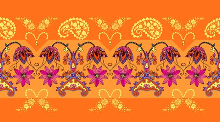 Seamless border with flowers and paisley. Summer fashion design. Bright print for fabric.