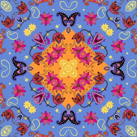 Colorful seamless pattern with flowers and paisley. Design for fabric, textile, wrapping. Pillowcase, napkin.