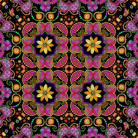 Beautiful seamless ornament pattern with indian motifs. Colorful flowers and paisley. Bandana print. Lovely tablecloth.