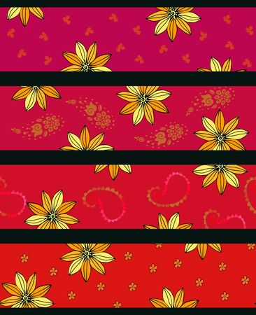 Striped seamless pattern with yellow flowers. Stylish print for fabric and textile. Fashion design. 일러스트