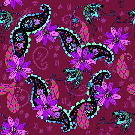 Seamless pattern with flowers and paisley. Stylish print for fabric and textile. Summer background.