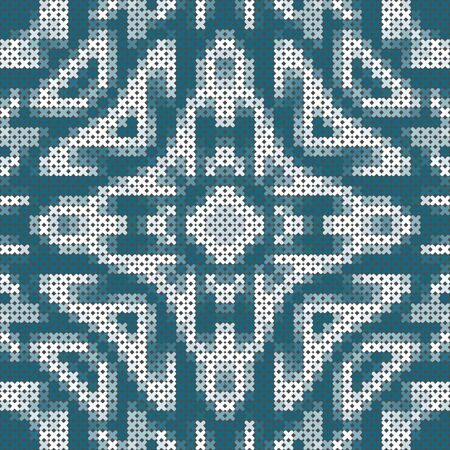 Cross stitch seamless pattern.  Blue and white symmetric ornament. Square print for pillowcase, cushion, rug.