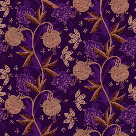 Seamless pattern with beautiful floral ornament. Fashionable print for fabric. Luxury design. 일러스트
