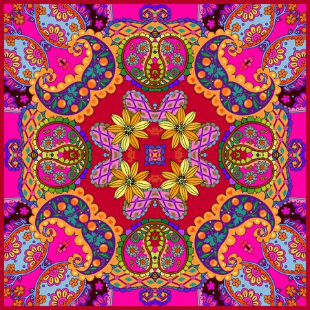 Colorful bandana print with paisley and flowers. Bright square design for scarf, kerchief. Home textile with ethnic motifs.  イラスト・ベクター素材