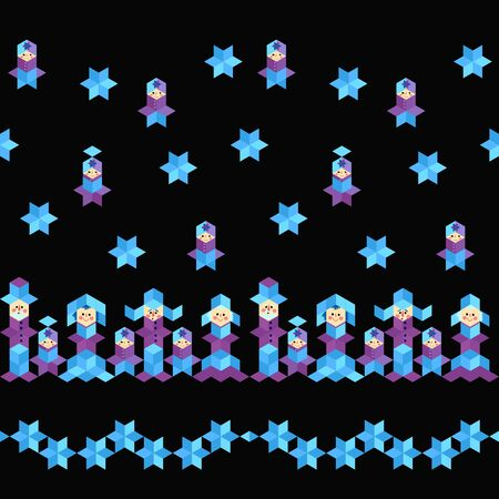 Cute seamless pattern with funny people and snowflakes from rhombuses. Winter motifs. 일러스트