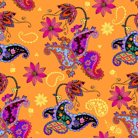 Beautiful seamless pattern with flowers and paisley. Print for fabric, textile, packaging. Fantasy ornament.