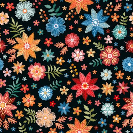 Embroidery seamless pattern with colorful summer flowers on black background. Fashionable print for fabric. Floral fancywork. 일러스트