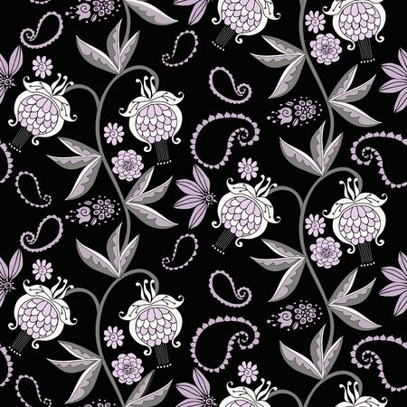 Floral seamless pattern. Branches with flowers and leaves. Beautiful design for fabric.