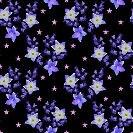 Beautiful seamless pattern with fantasy flowers of bellflowers and pink stars on white background.