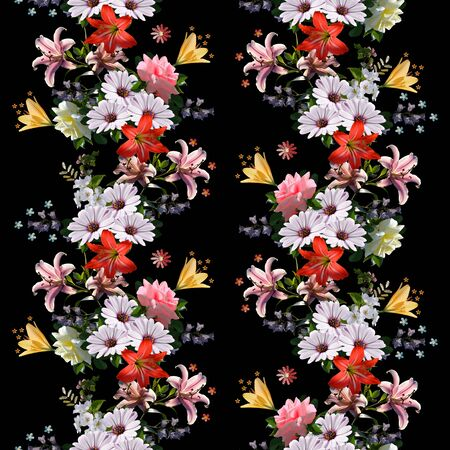 Floral seamless pattern. Beautiful summer flowers on black background. 스톡 콘텐츠