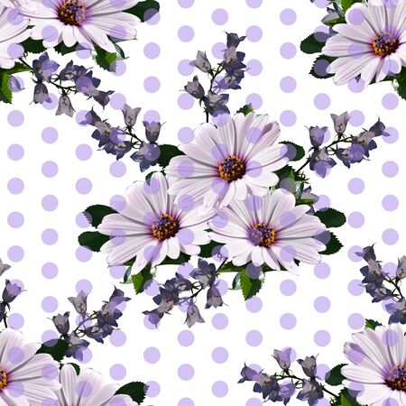 Elegant seamless pattern with flowers and dots. Summer design with african daisy (osteospermum) and bellflowers. 스톡 콘텐츠