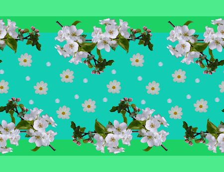 Floral seamless border with white flowers. Design element for cards, wedding, wrapping. 스톡 콘텐츠