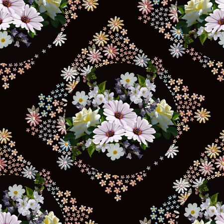 Beautiful seamless pattern with floral ornament. Composition with elegant bouquet of summer flowers.
