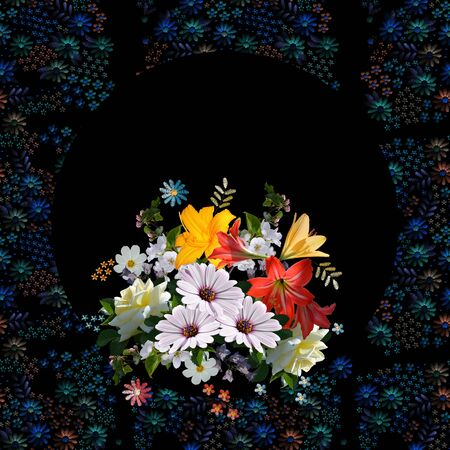 Beautiful bouquet of colorful summer flowers on black background with floral ornament frame. Card design.