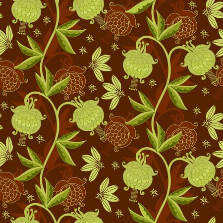 Graceful floral ornament. Beautiful seamless pattern with gentle flowers. Print for fabric, wrapping paper, wallpaper. Ilustrace