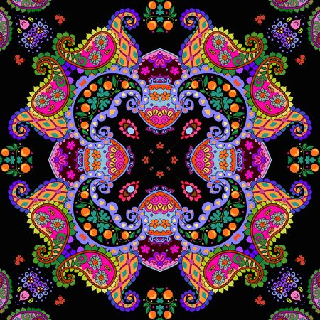Colorful seamless pattern with bright ornament in ethnic style. Ceramic tile. Kaleidoscope. Cute home textile - cushion, napkin, rug. 일러스트