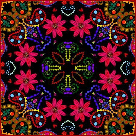 Bright square pattern with red flowers and paisley. Colorful print for bandana, scarf, pillowcase, rug. Summer design. 일러스트