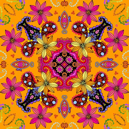 Beautiful seamless pattern with pink and yellow flowers and colorful paisley. Summer print. Bandana, scarf. Design for home textile - pillowcase, napkin, doily. 일러스트
