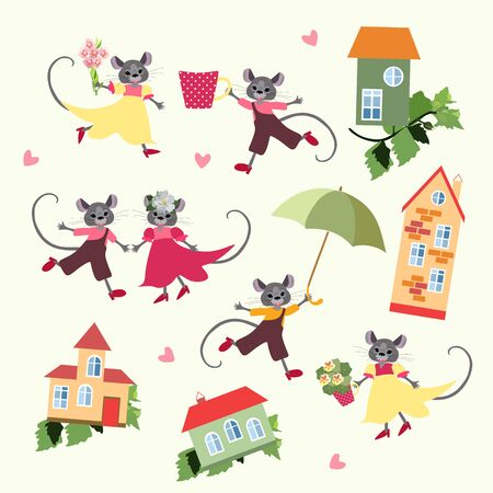 Cute mouses with flowers and houses. Illustration for cards and posters with symbol of 2020 year.
