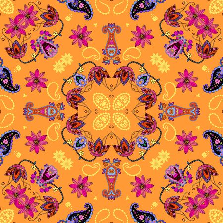 Bright seamless pattern with colorful flowers and paisley on orange background. Bandana print. Beautiful design for summer silk scarf.
