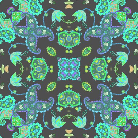 Beautiful seamless pattern with floral and paisley ornament. Print for fabric and textile. Cushion, napkin, rug. 일러스트