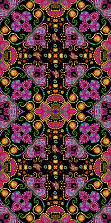 Bright colorful seamless pattern with ethnic ornament. Beautiful print for fabric and textile.