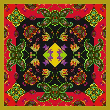 Decorative square pattern with ethnic motifs. Print for bandana, scarf, napkin, pillowcase, rug.