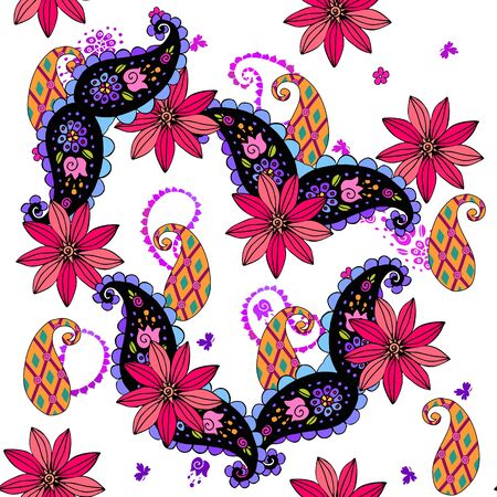 Beautiful seamless pattern with bright flowers and paisley leaves on white background.