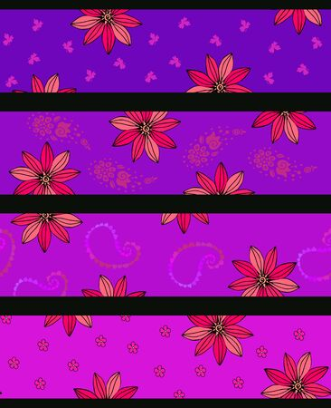 Bright seamless pattern from stripes with floral ornament. Fashionable design. Print for fabric, clothing, cover, card.