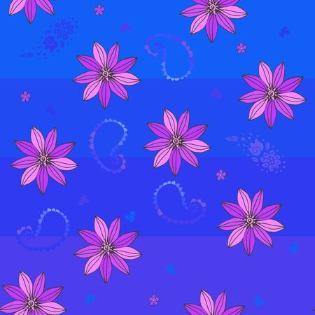 Beautiful floral seamless pattern with violet flowers on blue background.