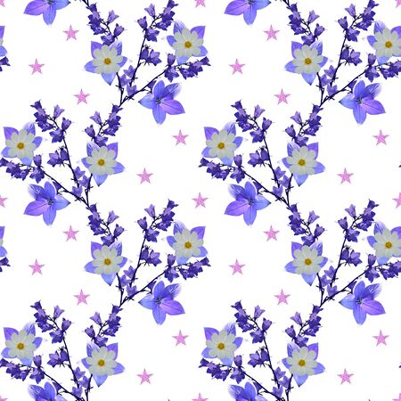 Lovely seamless pattern with fantasy bellflowers and pink stars on white background.