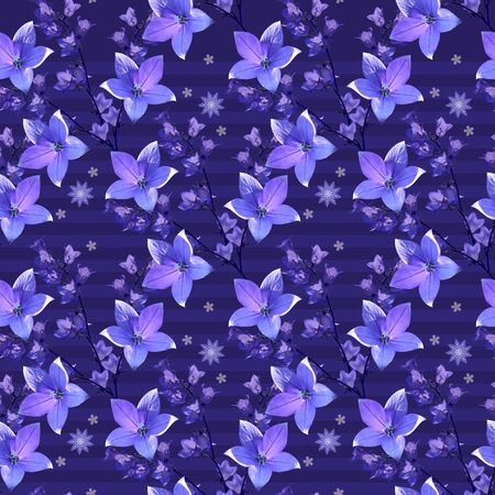 Beautiful floral seamless pattern with bellflowers on violet striped background.