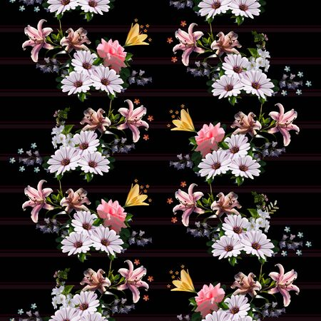 Floral garlands on striped background. Beautiful seamless pattern with summer flowers