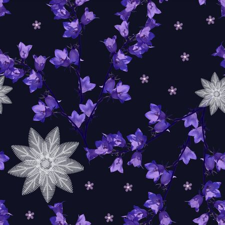 Beautiful seamless pattern with violet bellflowers and abstract embroidery flowers on black background.