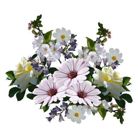 Beautiful bouquet with flowers isolated on white background.