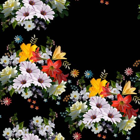 Floral seamless pattern with place for text. Beautiful summer flowers on black background. 스톡 콘텐츠