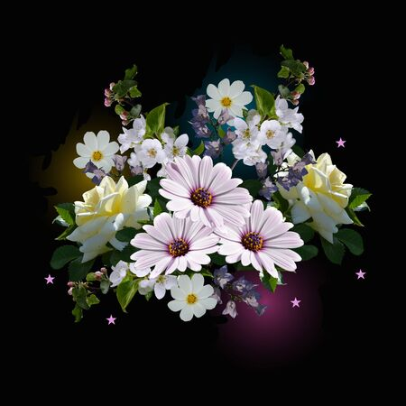 Beautiful bouquet with summer flowers. Romantic floral composition.