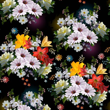 Beautiful seamless floral pattern. Bouquets with colorful flowers.