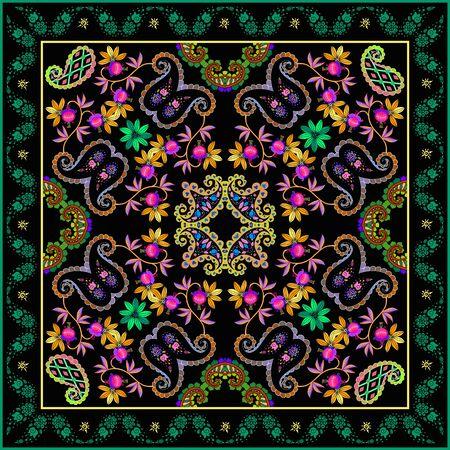 Colorful bandana print with beautiful floral ornament. Silk square scarf. Fashion design. Pillowcase, napkin.