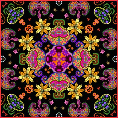 Lovely tablecloth or beautiful scarf with colorful flowers and paisley. Square carpet  in ethnic style.