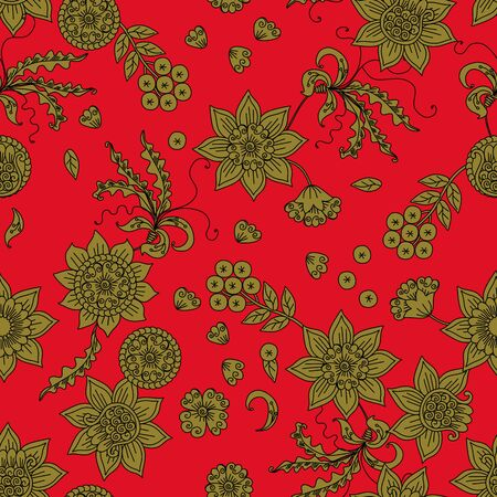 Beautiful floral seamless pattern with russian motifs. Gold flowers on red background.