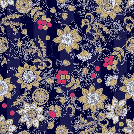 Beautiful floral ornament with russian ethnic motifs. Seamless patterns with flowers and berries on striped background. Ilustrace